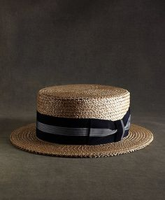 The Great Gatsby Collection Straw Boater Hat with Navy and White Striped Ribbon - Brooks Brothers