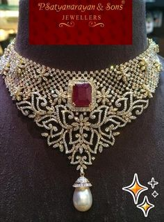Jewellery Designs: Latest Diamond Floral Necklace by PSJ