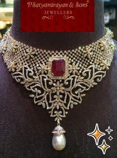 Jewellery Designs: Latest Diamond Floral Necklace by PSJ