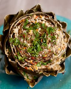 classy side dish Italian stuffed artichoke recipe --- Make for Uncle JohnItalian stuffed artichoke recipe --- Make for Uncle John Vegetable Recipes, Vegetarian Recipes, Cooking Recipes, Healthy Recipes, Delicious Recipes, Artichoke Recipes, Silvester Party, Food Dishes, Side Dishes