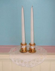 Gold Wedding Decoration / Wedding Taper by CarolesWeddingWhimsy, set of 2, Metallic Gold, Pink and Ivory Wedding Taper Candle Holders - Perfect for Sweet Heart Table or Cake Table Decoration - You can find it here https://www.etsy.com/listing/127437224/gold-wedding-decoration-wedding-taper
