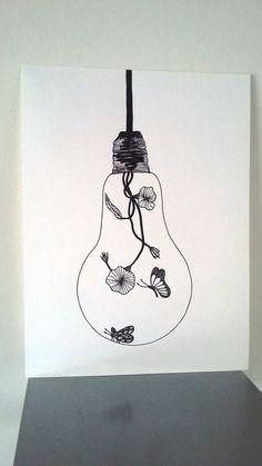"""Affiche Illustration Noir et blanc ampoule """"Douceur d'Intérieur """" : Dessins par stefe-reve-en-feutrine"""