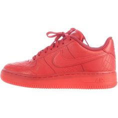 Pre-owned Nike Air Force 1 City Pack Tokyo Sneakers ($175) ❤ liked on Polyvore featuring shoes, sneakers, red, embroidered shoes, red trainers, red lace up shoes, nike trainers and lace up sneakers