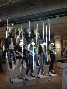 mannequin display - Google 검색 Mannequin Display, Mannequin Art, Denim Display, Visual Merchandising Displays, Visual Display, Store Fixtures, Exhibition Display, Store Displays, Boutique Displays