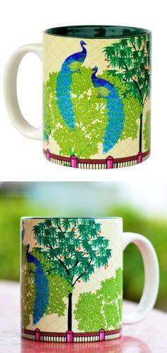 Peacock garden mug - love the print graphic
