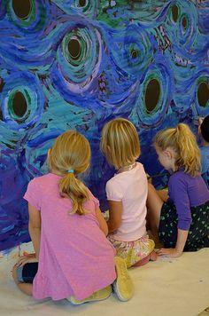 Starry Night Mural // Van Gough Inspired Art - Kids Art Classes, Camps, Parties and Events - Small Hands Big Art Kids Art Class, Art For Kids, Kids Fun, Kindergarten Art, Preschool Art, Van Gogh Art, Sunflower Art, Artists For Kids, Art Club