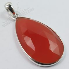 Awesome Pendant Natural CARNELIAN Checker Faceted Gemstone 925 Sterling Silver #Unbranded #Pendant
