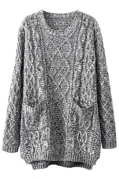 Grey Oversized Cable Knit Sweater - OASAP.com for thanksgiving day party!!