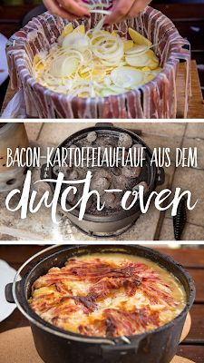 Bacon potato casserole from the Dutch-Oven - Outdoor Wanderungen - Outdoor Kitchen Healthy Chicken Recipes, Easy Healthy Recipes, Crockpot Recipes, Shrimp Recipes, Salmon Recipes, Soup Recipes, Vegetarian Recipes, Dutch Oven Lasagna, Bacon Potato Casserole