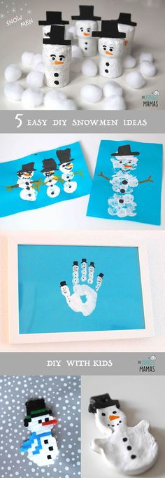 5 einfache Ideen, Schneemänner zu malen und basteln mit Kindern // 5 easy ideas to make snowmen with your kids