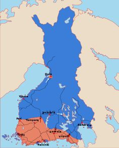 During World War I, in 1917, Finland declares its independence. This independence is recognized by the new communist leaders of Russia. At the same time, the breach between left wing and and right wing armed groups becomes hostile. In 1918 the Finnish Civil War between Finnish communists and anti-communists starts. This map shows the initial frontlines and first offensives of the Finnish Civil War at the beginning of February