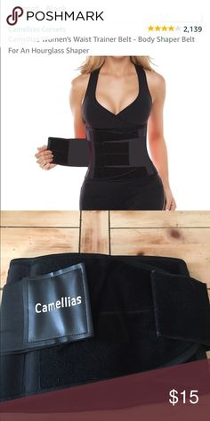 Black corset waist trainer I ordered this for $25 a month or so ago and never used it, it's definitely great for back support and waist training ! The double Velcro really helps get it to the tightness you prefer ! Size small. Camellia's Accessories Belts