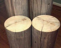 "Rustic Weathered Gray Poplar Stump Table ~ Bedside Table Stump Stool Plant Stand - 7-8"" diameter Custom Heights Available"