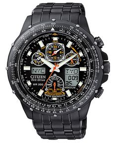 Citizen Watch, Men's Chronograph Eco-Drive Black Stainless Steel Bracelet 45mm JY0005-50E - Men's Watches - Jewelry & Watches (Macy's)