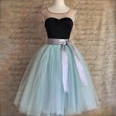 Soft mint  green tulle tutu skirt.  Tulle lined tea length skirt. Fall pastel skirt