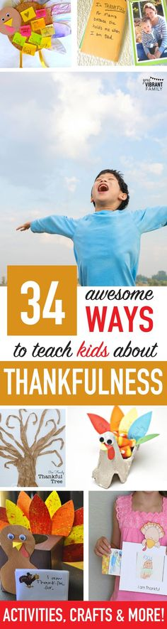 WOW! 34+ Thanksgiving Crafts, Printables, Books and Activities that Teach Kids About Being Thankful! So many GREAT IDEAS here!