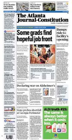 Some grads find hopeful job front; Bumpy ride to int'l terminal opening; War on Alzheimer's; Ga. Perimeter finances. The Atlanta Journal-Constitution front page for May 16, 2012