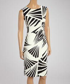 Look at this #zulilyfind! Black & White Abstract Palm Sleeveless Dress - Women by Linea Domani #zulilyfinds