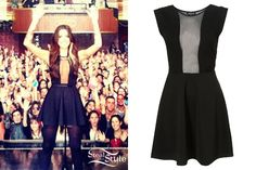 christina-perri-mesh-dress - Christina Perri wore the Mesh Insert Skater Dress from Topshop ($90.00) at her concert in New York City on Friday night. The sheer front of this dress is very revealing, but the classic silhouette keeps it from looking trashy.