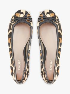 5bb7c18c26108 BuyDune Harpss Wide Fit Bow Detail Ballerina Pumps, Leopard Hair on Hide, 3  Online