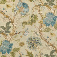 P. Kaufmann Florabunda Sea Glass Fabric. fabric fabric, surface design, surface pattern, floral