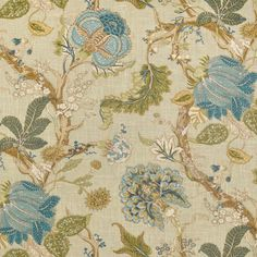 P. Kaufmann Florabunda Sea Glass Fabric. fabric fabric, surface design, surface pattern, floral