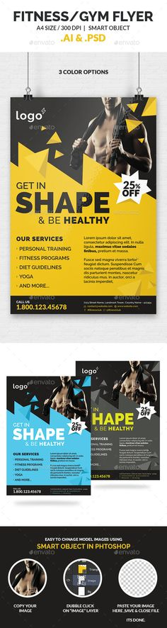 Fitness / Gym Flyer Template  #multipurpose • Click here to download ! http://graphicriver.net/item/fitness-gym-flyer-template/10200155?ref=pxcr
