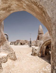 Star Wars: Mos Espa at Tatooine |Georg Hofer Movie Set of Star Wars: Episode I – The Phantom Menace in the Sahara Desert. Tunisia,Touzer, Ong el-Jemel, Nefta. The place is slowly disappearing under the dunes.