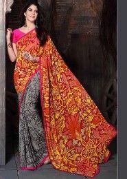 Party Wear Georgette Multi Colour Printed Saree