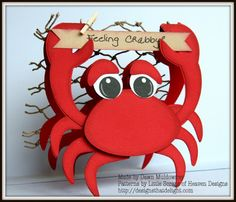 Dawns Designs that Delight: Feeling Crabby Paper Punch Art, Punch Art Cards, Paper Piecing, Nautical Cards, Beach Cards, Shaped Cards, Cricut Cards, Get Well Cards, Scrapbook Cards