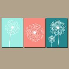 ★DANDELION Wall Art Flower Artwork Aqua Gray Custom Colors Modern Nursery Set of 3 Prints Decor Bedroom Bathroom Dorm Three ★Includes 3 unframed - Diy for Home Decor Aqua Gray Bedroom, Gray Bedroom Walls, Bedroom Canvas, Bedroom Neutral, Gray Bathroom Decor, Bathroom Wall Art, Art For The Bathroom, Gold Bathroom, Bathroom Modern
