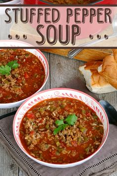 Stuffed Pepper Soup combines ground beef, rice, tomatoes, and green bell peppers in an easy-to-make soup recipe that tastes just like stuffed peppers! Stuffed Green Pepper Soup, Bell Pepper Soup, Easy Stuffed Peppers, Slow Cooker Recipes, Crockpot Recipes, Soup Recipes, Dinner Recipes, Cooking Recipes