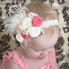 Baby Couture Headband - Vintage Shabby Chic Baby Headband - Etsy