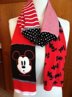 UPCYCLED tshirt scarf MICKEY Mouse Disney WDW red by verbositytees, $22.00