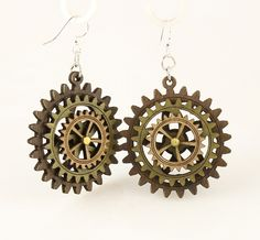 """Made in U.S.A Style # 5004I Size 1.65"""" x 1.5"""" Kinetic Gear Earring 5004I All Gears Move! Comes as shown - Brown/Apple Green/Tan Made from sustainably sourced materials Laser-cut wood Stained with water based dye Ear wires are silver-finished 3041 stainless steel with new electrophoretic-coating that resists tarnishing"""