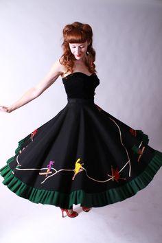 Vintage 1950s Novelty Skirt  Vintage Wintertime Felt by FabGabs, $298.00