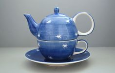 Whittard OF Chelsea Blue White Stars Pattern TEA FOR ONE SET Teapot CUP Saucer | eBay