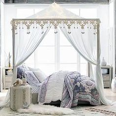 A home decor collage from October 2016 featuring queen canopy bed frame. Browse and shop related looks. White Distressed Furniture, Weathered Furniture, White Furniture, Bedroom Furniture, Bedroom Decor, Bedroom Ideas, Bed Ideas, Bedding Decor, Bedroom Pictures