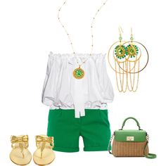 Green and gold, created by adewar on Polyvore