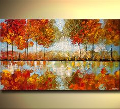 "ORIGINAL Abstract Contemporary Blooming Tree Painting Modern Landscape palette knife Art Indian Summer by Osnat Tzadok 40"". $380.00, via Etsy."