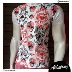 Olha para eles que camiseta moderna! Nipes de baralho e caveira 👊✌️#alkatraz #moda #men #homens #elegância #preçosbaixos