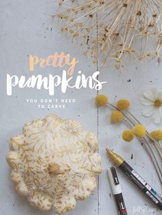 Our top 10 pretty pumpkins - no carving required! Pumpkin Art, Pumpkin Carving, Halloween Diy, Halloween Decorations, Craft Fair Displays, Painted Gourds, Trunk Or Treat, Pumpkin Decorating, Samhain