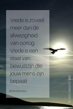 Vrede is zoveel meer dan de afwezigheid van oorlog. Vrede is een staat van bewustzijn die jouw mens-zijn bepaalt...