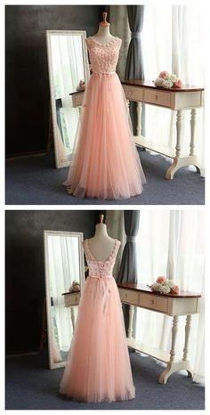 Scoop Tulle Pretty Popular Pink A-Line Evening Custom long Prom Dresses Prom Gowns by DestinyDress, $165.00 USD