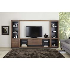 "Martin Furniture SS370-SS491BR-SS970DRx2 Stratus 4 Piece 112"" Entertainment Wall with Piers and Drawers"