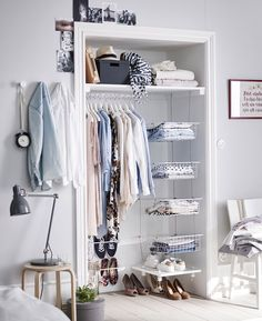 9 Storage Ideas For Small Closets // Taking the doors off the closet can give you a couple extra inches to work with and can make reaching in to grab your things that much easier.