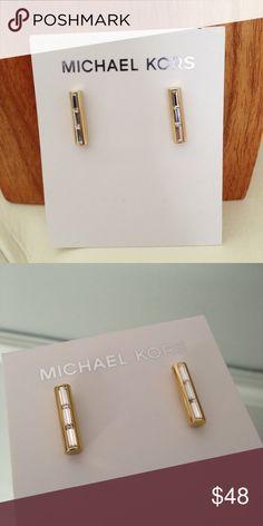 """Michael Kors Baguette Bar Stud Earrings Gold tone baguette stud earrings by MK.  Approx. 3/4"""". Michael Kors Jewelry Earrings"""