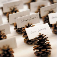 New wedding winter pine cones place cards 20 Ideas Christmas Wedding, Fall Wedding, Christmas Time, Rustic Wedding, Christmas Crafts, Christmas Decorations, Xmas, Trendy Wedding, Christmas Place Cards