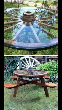 Rustic wagon wheel wood picnic table with tractor seats Western Decor, Rustic Decor, Outdoor Projects, Home Projects, Pallet Projects, Wagon Wheel Table, Wagon Wheel Decor, Wagon Wheel Garden, Outdoor Tables