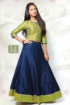 Shop Green navy raw silk wedding wear girls lehenga choli online from India. Choli Designs, Lehenga Designs, Blouse Designs, Indian Attire, Indian Ethnic Wear, Indian Outfits, Kids Ethnic Wear, Indian Gowns Dresses, Girls Dresses